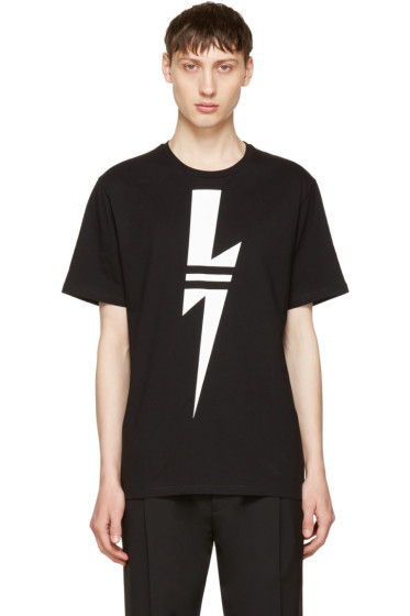 Neil Barrett - Black & White Thunderbolt T-Shirt