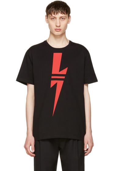 Neil Barrett - Black & Red Thunderbolt T-Shirt