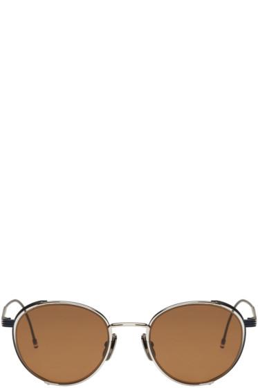 Thom Browne - Navy & Silver TB 106 Sunglasses