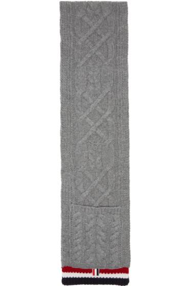 Thom Browne - Grey Aran Cable Pocket Scarf