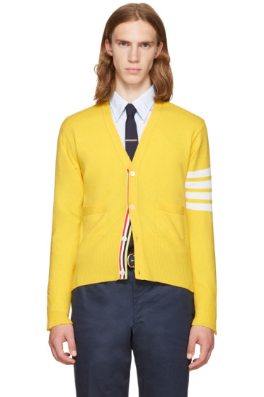 Thom Browne - Yellow Classic V-Neck Cardigan