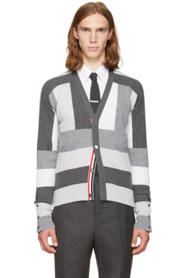 Thom Browne - Grey Saddle Sleeve V-Neck Cardigan