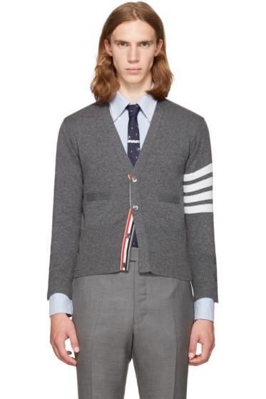 Thom Browne - Grey Classic Short V-Neck Cardigan