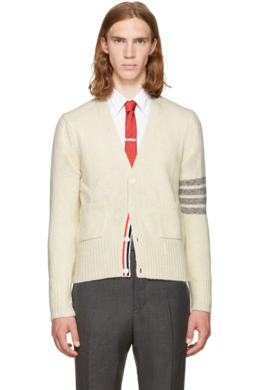 Thom Browne - White Classic Mohair V-Neck Cardigan
