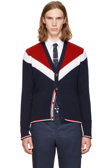 Thom Browne - Tricolor Saddle Sleeve V-Neck Cardigan