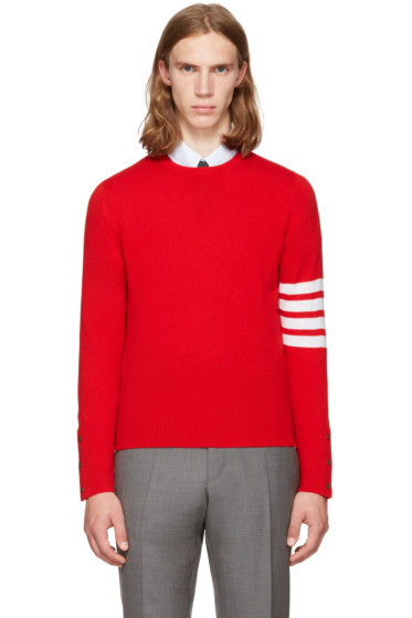 Thom Browne - Red Classic Crewneck Pullover