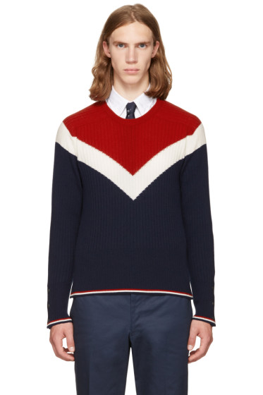 Thom Browne - Tricolor Saddle Sleeve Crewneck Pullover