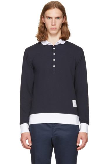 Thom Browne - Navy Long Sleeve Collection Polo