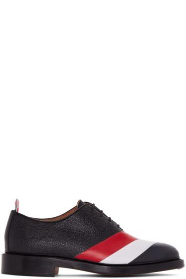 Thom Browne - Black Diagonal Stripe Wholecut Oxfords
