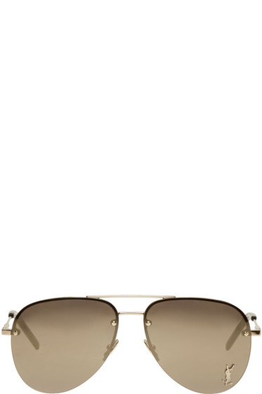 Saint Laurent - Gold Monogram M11 Aviator Sunglasses