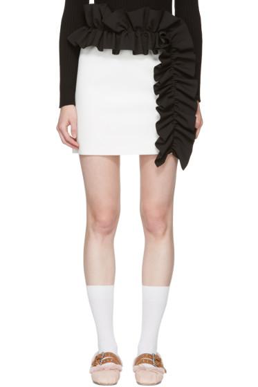 MSGM - ホワイト コントラスト ラッフル ミニスカート