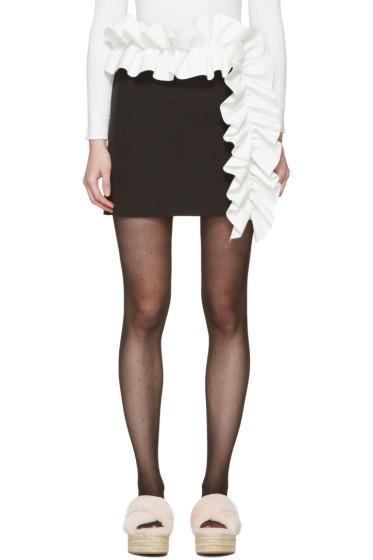 MSGM - ブラック コントラスト ラッフル ミニスカート