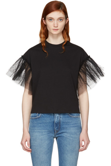 MSGM - Black Tulle Sleeve T-Shirt