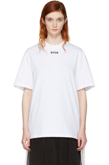 MSGM - ホワイト ロゴ T シャツ