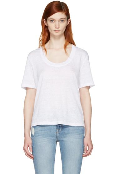 Frame Denim - White Linen U-Neck T-Shirt