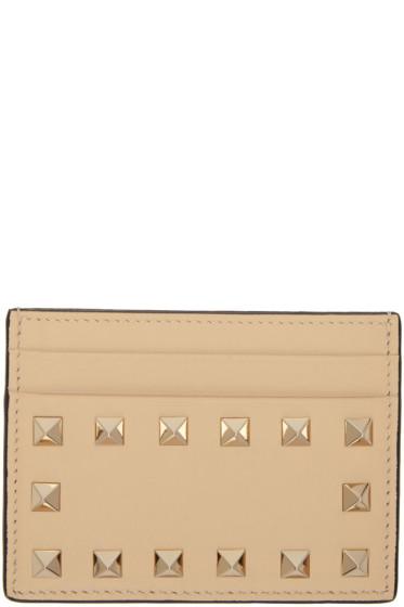Valentino - Porte-cartes beige Rockstud