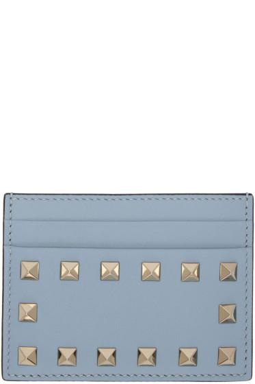 Valentino - Porte-cartes bleu Rockstud
