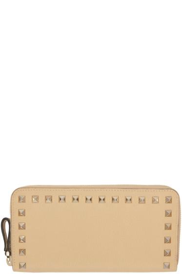 Valentino - Portefeuille continental à glissière beige Rockstud