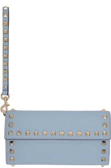 Valentino - Portefeuille à rabat bleu Rockstud