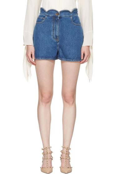 Valentino - Blue Denim Scallop Waist Shorts
