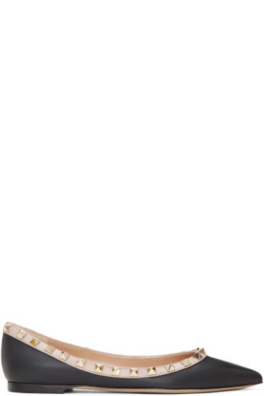 Valentino - Black & Pink Rockstud Ballerina Flats