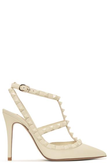 Valentino - Ivory Rockstud Cage Heels