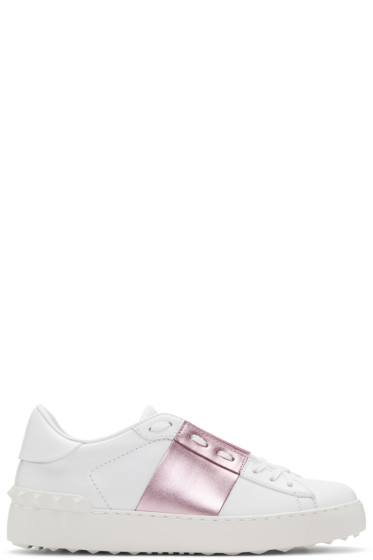 Valentino - White & Pink Metallic Open Sneakers