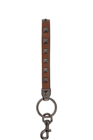 Valentino - Brown Rockstud Keychain