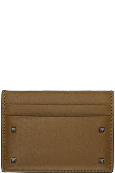 Valentino - Brown Small Rockstud Card Holder