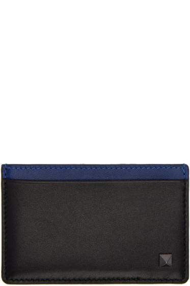 Valentino - Black & Blue Rockstud Card Holder