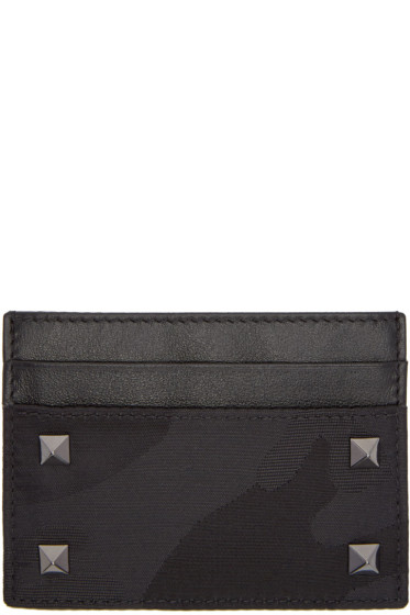 Valentino - Black Camo Rockstud Card Holder