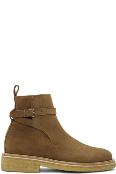 AMI Alexandre Mattiussi - Brown Suede Strap Boots