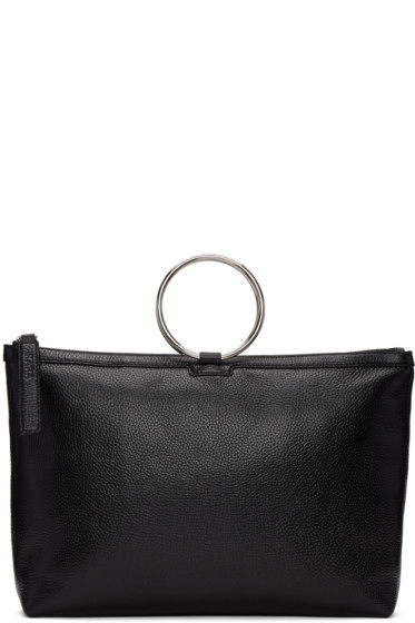 Kara - Black Leather Ring Tote