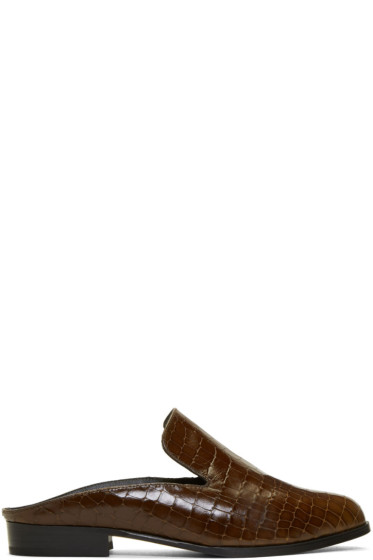 Robert Clergerie - Brown Croc-Embossed Alice Slip-On Loafers