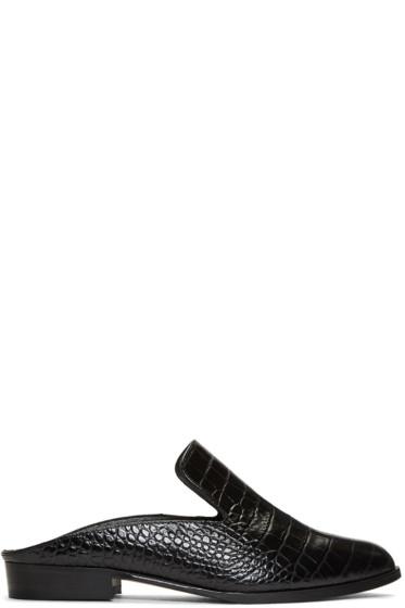 Robert Clergerie - Black Croc-Embossed Alice Slip-On Loafers
