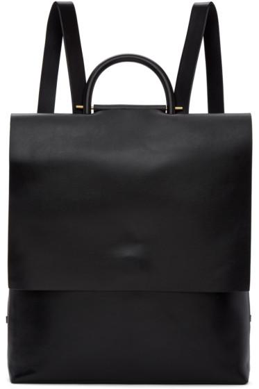 Building Block - Black Leather Rucksack