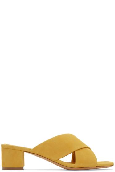 Mansur Gavriel - Yellow Suede Crossover Sandals
