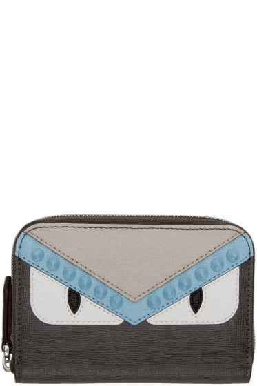 Fendi - Grey Mini 'Bag Bugs' Zip Around Wallet