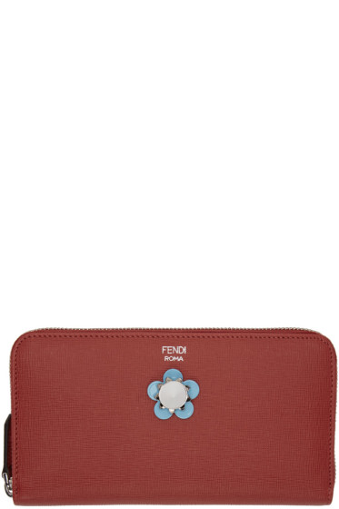 Fendi - Red Flowerland Zip Around Wallet