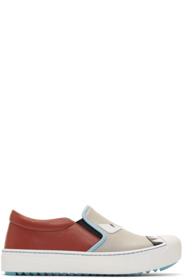 Fendi - Grey & Red 'Bag Bugs' Slip-On Sneakers