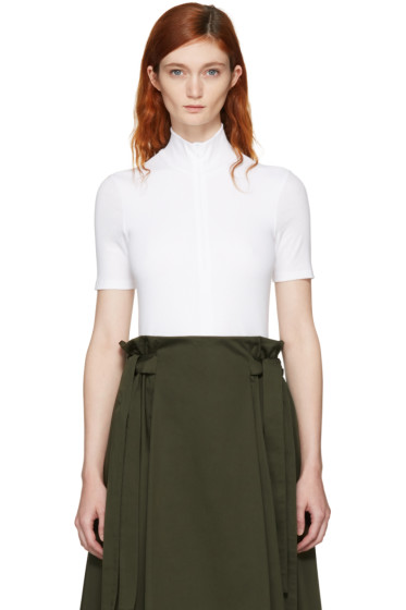 Rosetta Getty - White Zip-Up Turtleneck