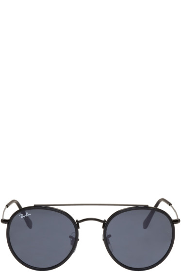 Ray-Ban - Black Round Double Bridge Sunglasses