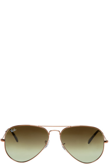 Ray-Ban - Bronze & Green Gradient Aviator Sunglasses