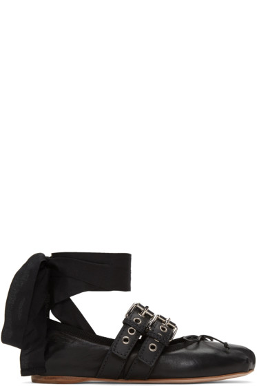 Miu Miu - Black Double Buckle Ballerina Flats