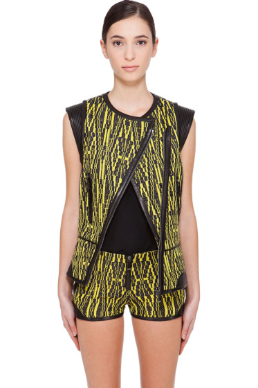 Barbara Bui - Yellow & Black Leather Trimmed Vest