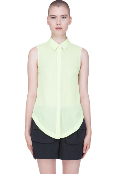 Wayne - Pale Green Silk Blouse