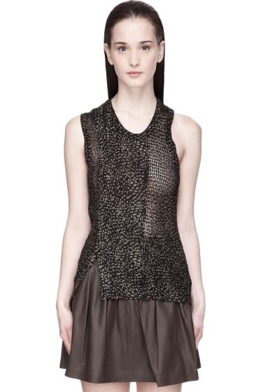 Edun - Black and khaki Speckle Print Mesh Sweater Tank