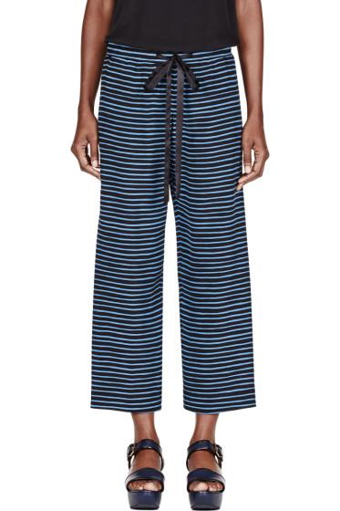 Marc Jacobs - Blue Silk Pinstripe Pillar Leg Trousers
