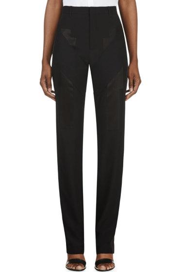 Givenchy - Black Satin Appliqué Trousers