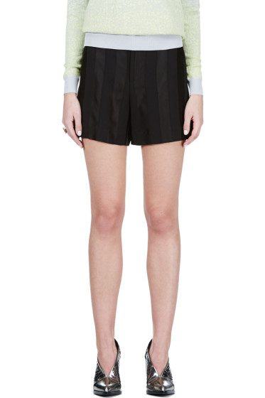 Theyskens' Theory - Black Tonal Stripe Shorts